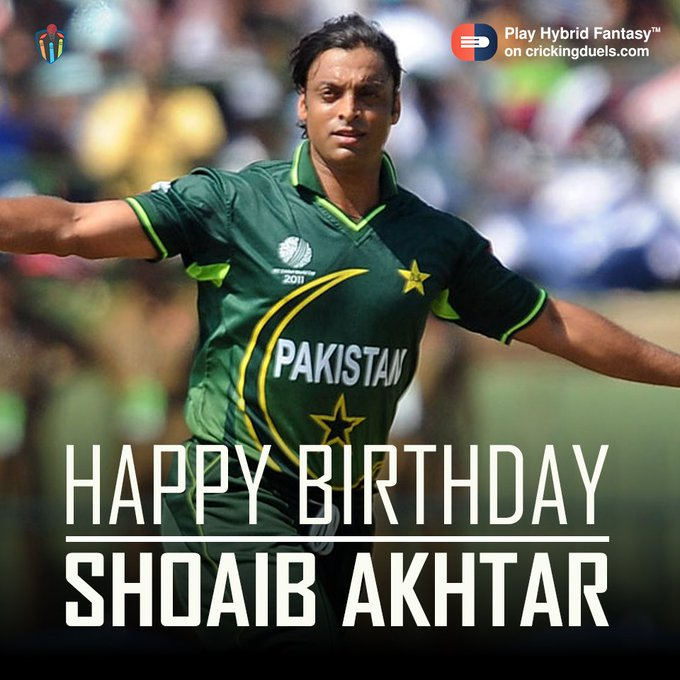 Happy Birthday,Shoaib Akhtar. The Pakistan cricketer turns 42 today.