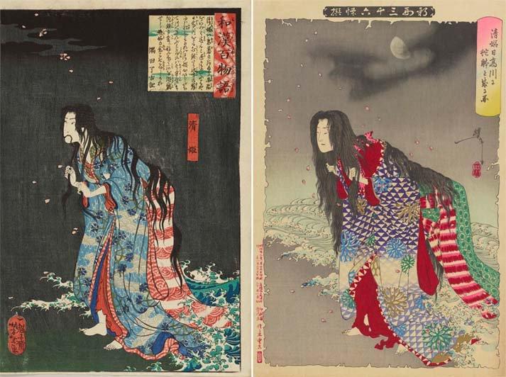 去っていった恋人の安珍を追いかけ、蛇体となる清姫。その姿を月岡芳年は20代と50代の時に描いています…
