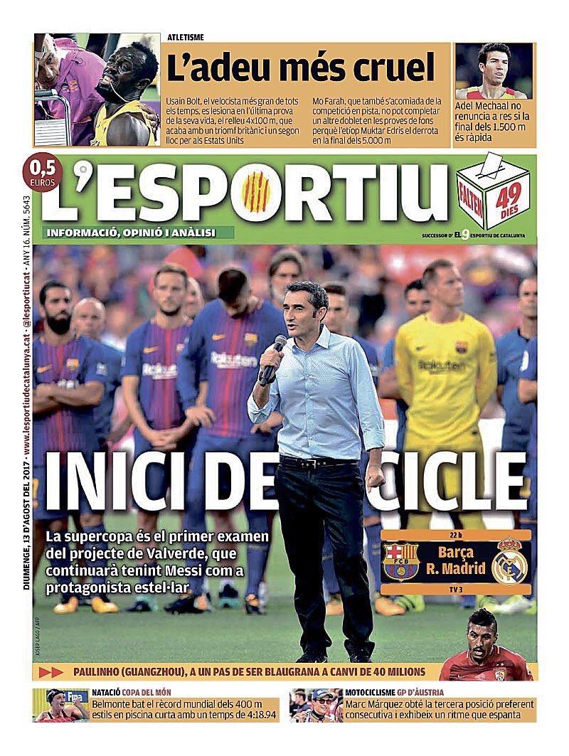 L&#39;esportiu has (again) the best cover. 1st clásico of the season &amp; both MD/Sport are talking about Paulinho   #FCBarcelona #clásico #Barça<br>http://pic.twitter.com/WQex3fXpw9