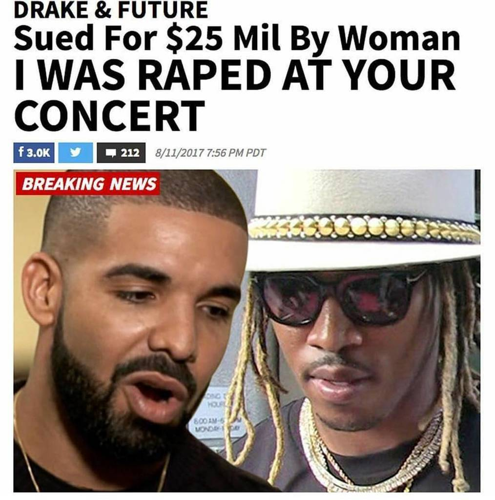 #TalkYoShyt  Y&#39;all got to check this out! Tell me why this chick is suing #Drake &amp; #Future instead of filing #crim…  http:// ift.tt/2uzw31O  &nbsp;   <br>http://pic.twitter.com/4m9LfU1Y8I
