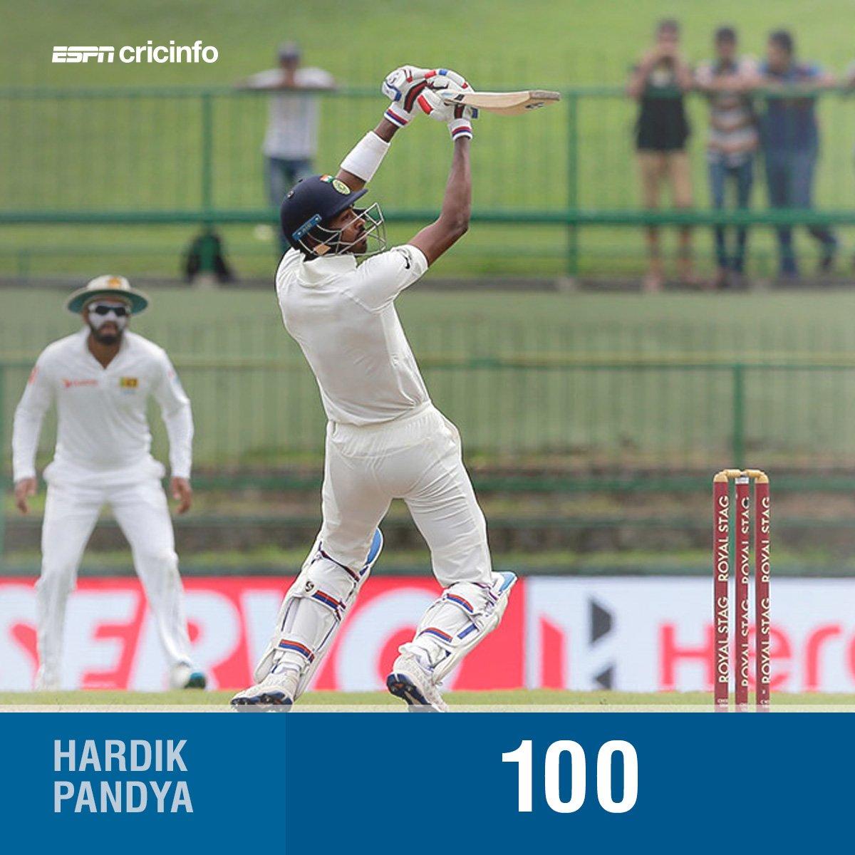 Hardik Pandya lights up Pallekele with a stunning maiden Test ton  #SL...
