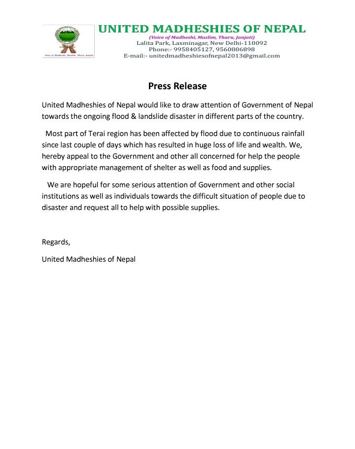 #Nepal #Madhesh #Landslide  #Raining  #PressRelease  #UMON Request to the Government of Nepal to come with Approprate solution ASAP.<br>http://pic.twitter.com/36dWjt1asC