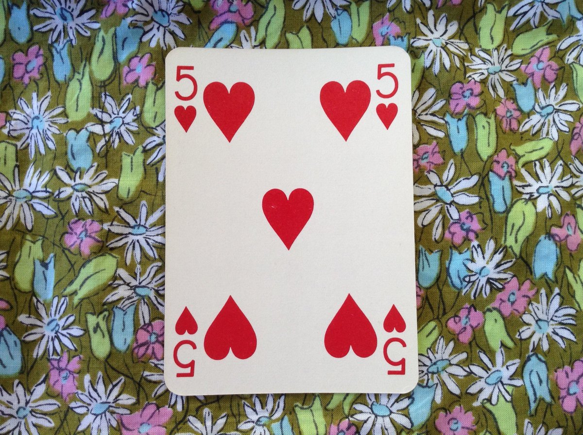 You may have to face trouble caused by an unfounded jealousy  #playingcards #five #heart #jealousy #divining #diviner #red #dowsing #dowser<br>http://pic.twitter.com/Su6ykkzddR