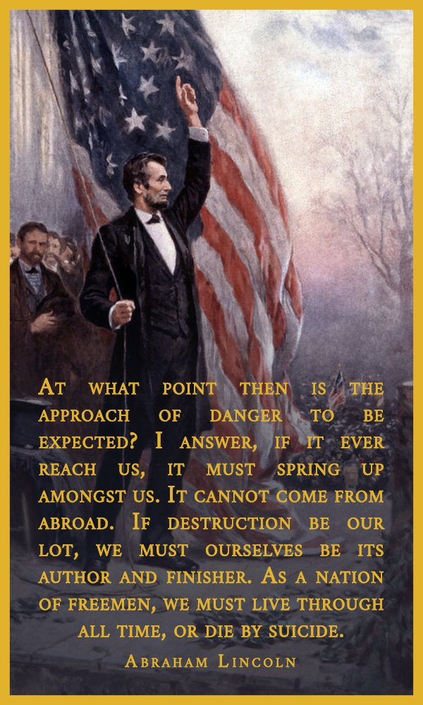 &quot;As a nation of freemen, we must live through all time, or die by suicide.&quot; Abraham Lincoln [600x1000] via /r/Quot…  http:// ift.tt/2hWccnK  &nbsp;   <br>http://pic.twitter.com/2t6m6DZIWm