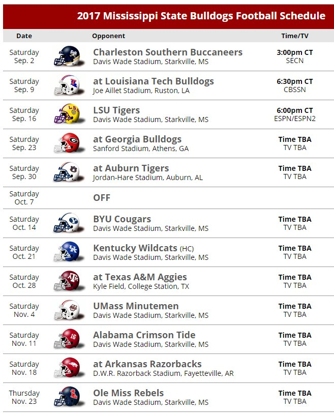Sec Country On Twitter 2017 Mississippi State Football Schedule