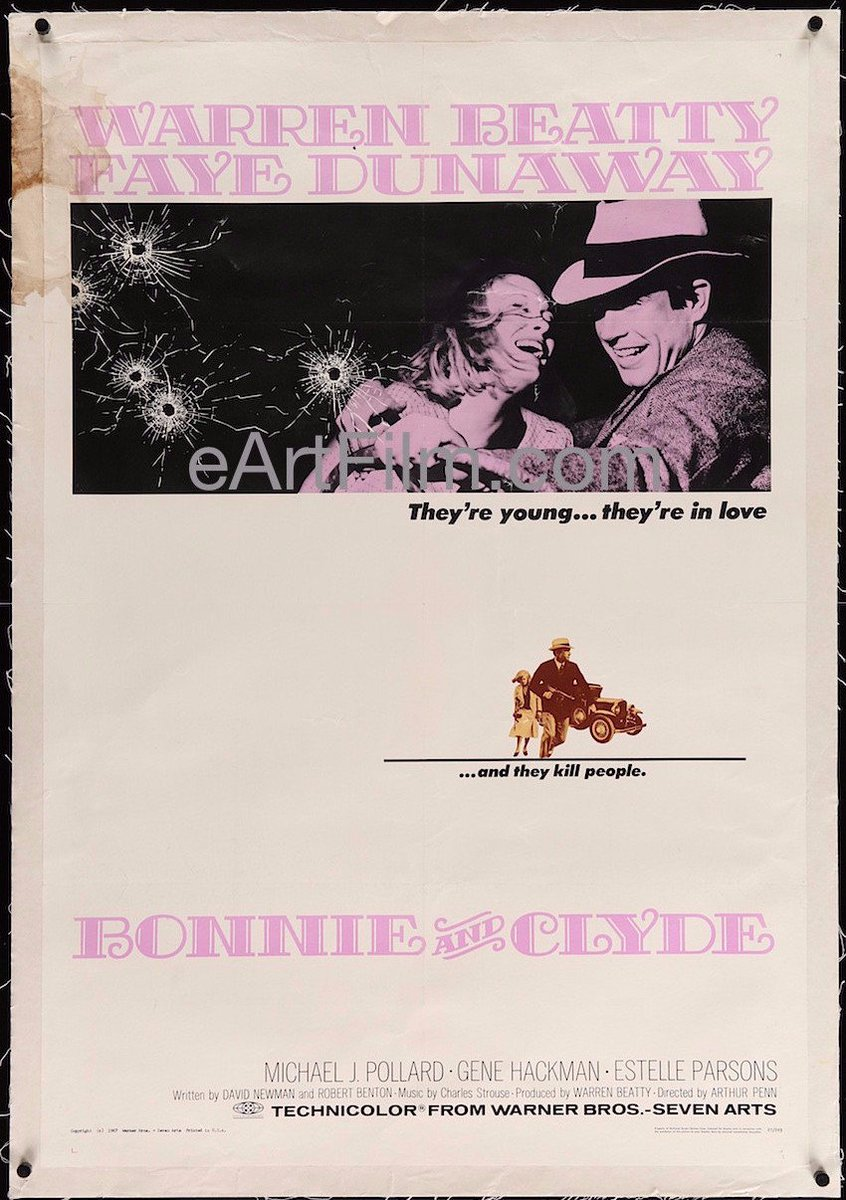 Aug. 13 1967 #ArthurPenn's #BonnieandClyde is released  https:// eartfilm.com/products/bonni e-and-clyde-1967-27x41-linenbacked-one-sheet &nbsp; …  #WarrenBeatty #FayeDunaway #GeneHackman #EstelleParsons #film<br>http://pic.twitter.com/ctd4snPv1O