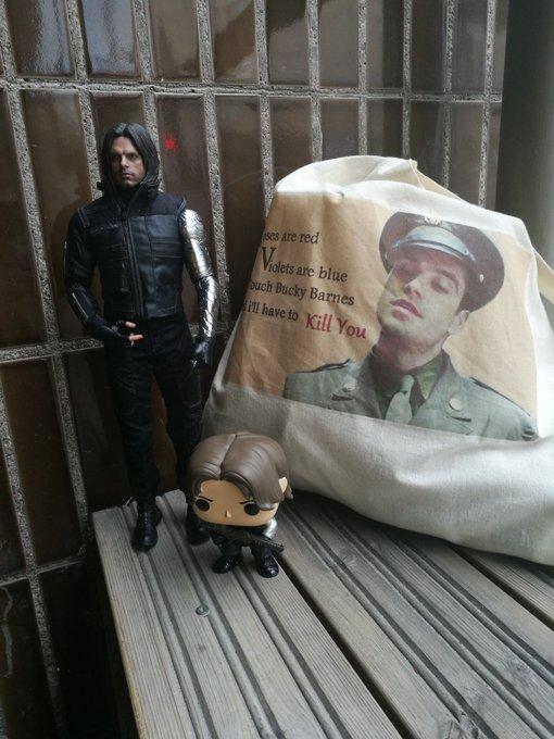 Here are some of my Bucky stuff. Happy Birthday Sebastian Stan!!!