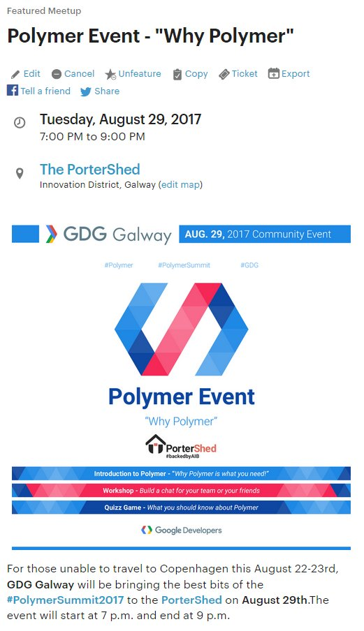 Don&#39;t forget to RSVP for our @polymer event on August 29 at 7pm!  https://www. meetup.com/Google-Develop ers-Group-in-Galway-Meetup/events/242474738/ &nbsp; …  #polymer #event #codelab #web #components<br>http://pic.twitter.com/ysV8bw4XMP