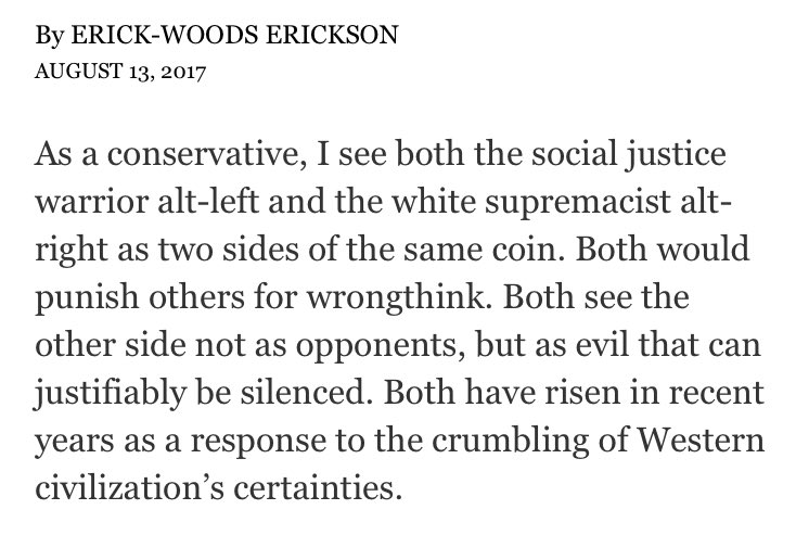 Erick Erickson's lede 'many sides!'-es white supremacy in the New York Times. https://t.co/YxWmAKl8ro