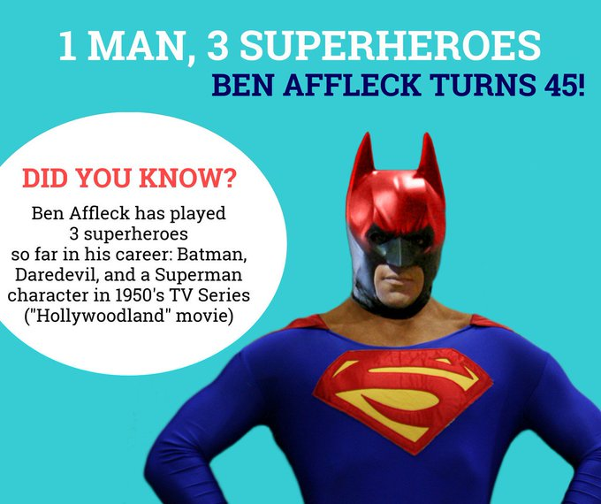 Happy Bday, Ben Affleck! If you could be a super-hero, who would you be and why?? Comment below!!