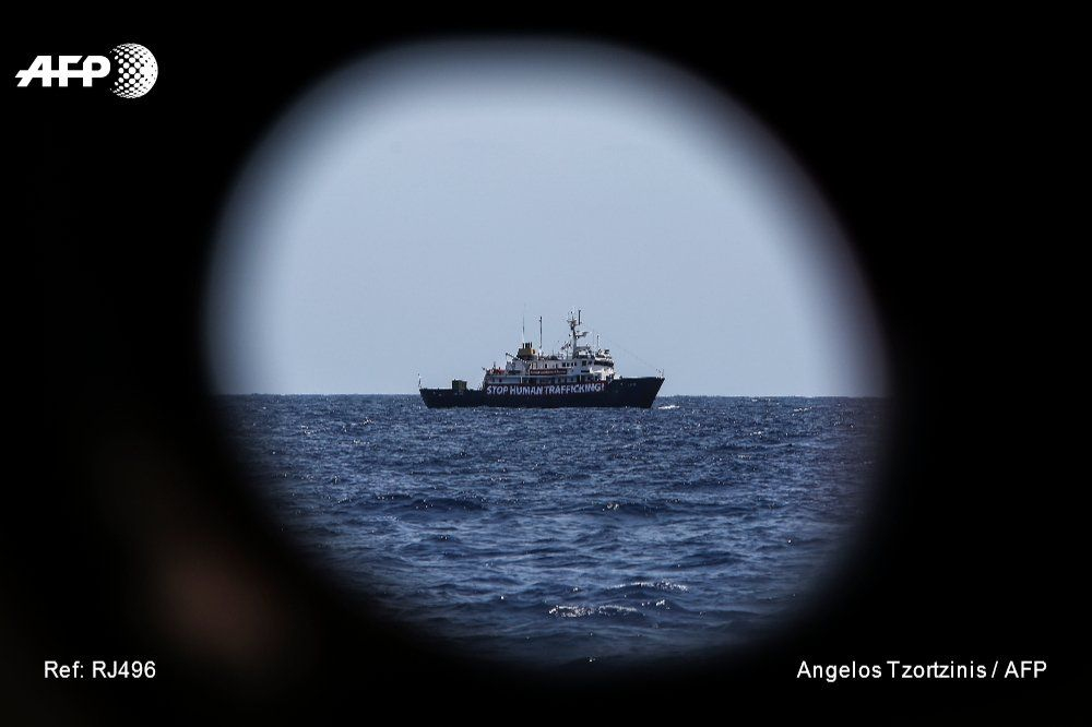 MEDITERRANEAN SEA #afp View of the C-Star a vessel chartered by a group of European far-right activists opposed to migrants… #supremacists 😆