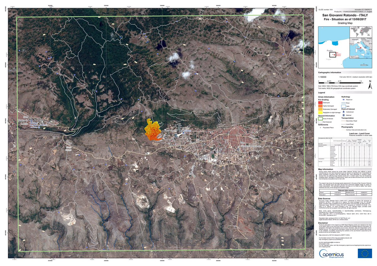 San Giovanni Rotondo Italy Map.Copernicus Ems On Twitter Our Damage Assessment Map For San