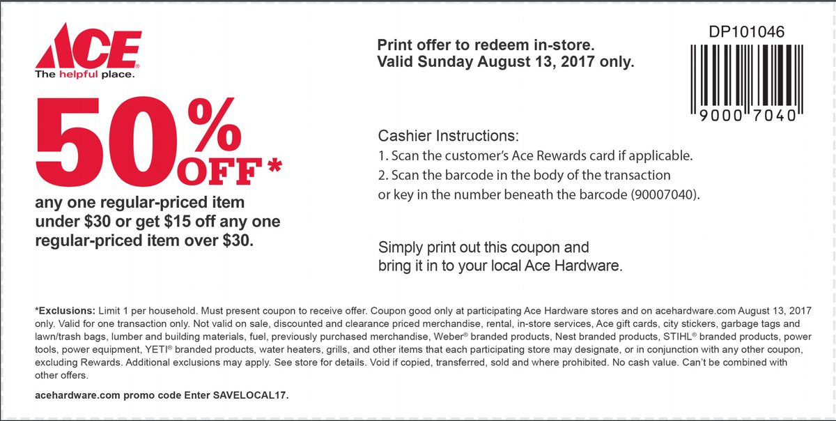 image about Ace Hardware Printable Coupon identify 9in the direction of5Toys upon Twitter: \