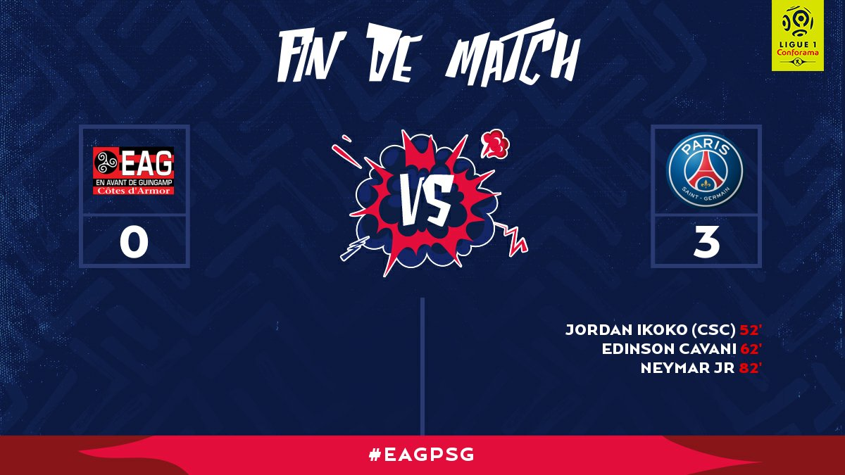 Victoire 3 buts à 0 face à un bel adversaire. @NeymarJr a inscrit son premier but sous le maillot parisien  #EAGPSG pic.twitter.com/Wp8ox8TRXt