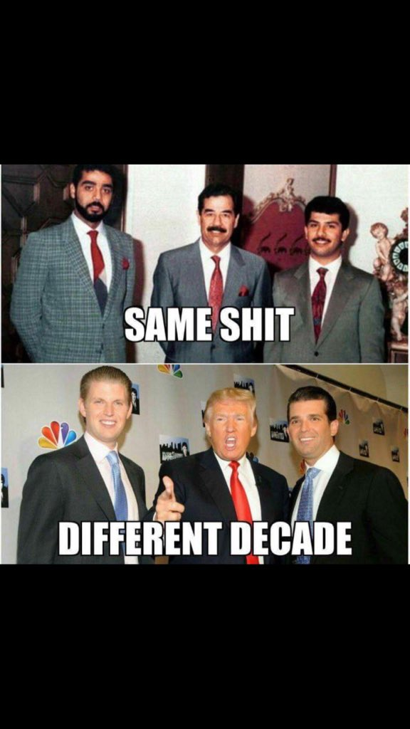 Uday and Qusay #DonaldTrumpJr and #EricTrump Same Sh*t Different Decades<br>http://pic.twitter.com/8OPUWfRqCz