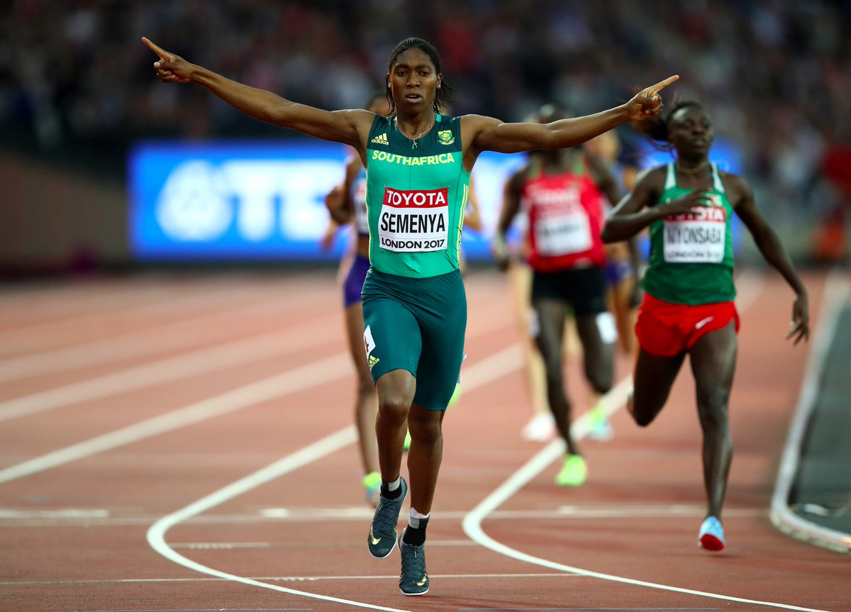 Caster Semenya wins her third World Championship gold medal in a world leading time of 1.55.16. #London2017 <br>http://pic.twitter.com/bhXzVlZzpE
