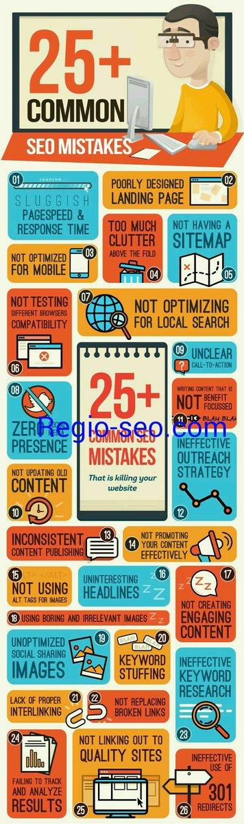 25+ common SEO mistakes #Internetmarketing #INFOGRAPHIC #like #follo #RT #RegioSEO #Search #marketing #Startups #optimization #google<br>http://pic.twitter.com/pv2YO6EvUj