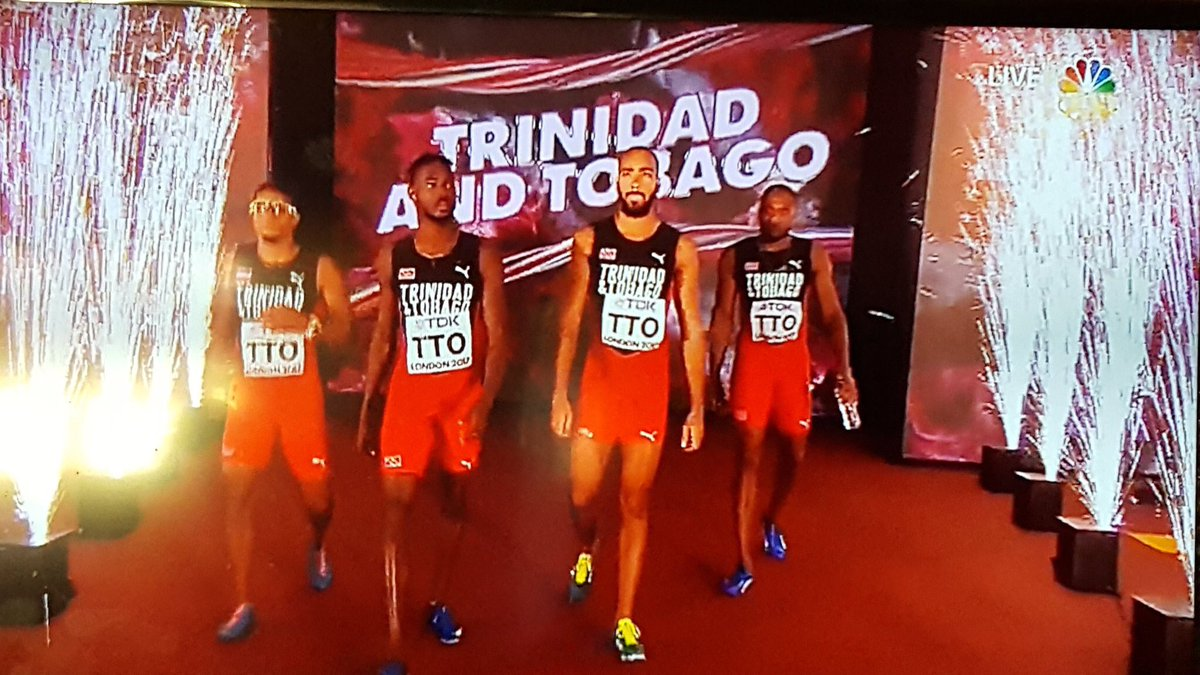 Congratulations to Trinidad and Tobago on winning the 4 by 400m Final#IaafWorld #London2017 <br>http://pic.twitter.com/j3gFi2kZKn