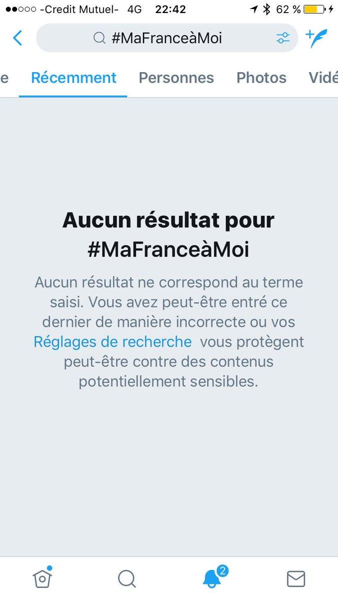 Et voilà chers Followers ! Aucun résultat sur le # #MafranceaMoi ce soir à 22h42 ! On dit Merci @TwitterFrance ! Qu'avons nous fait de mal ?pic.twitter.com/a3ENbJUv4E