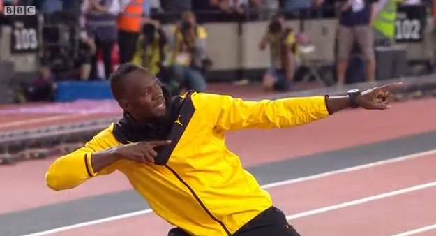 He just had to didn&#39;t he   #UsainBolt #BeTheNext<br>http://pic.twitter.com/A4OOVZqulM
