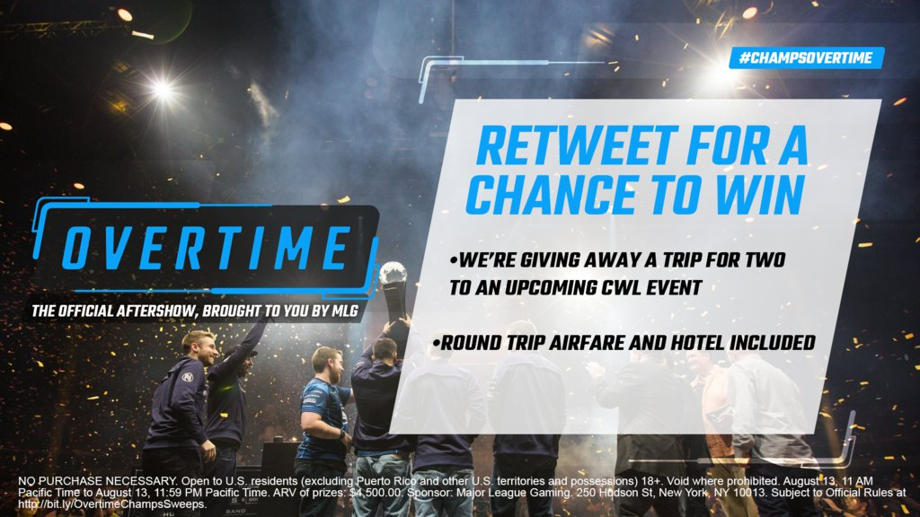 RT + Follow & you could win a trip to a future CWL event!  #ChampsOVERTIME  Rules: https://t.co/w5qM1N3rzd