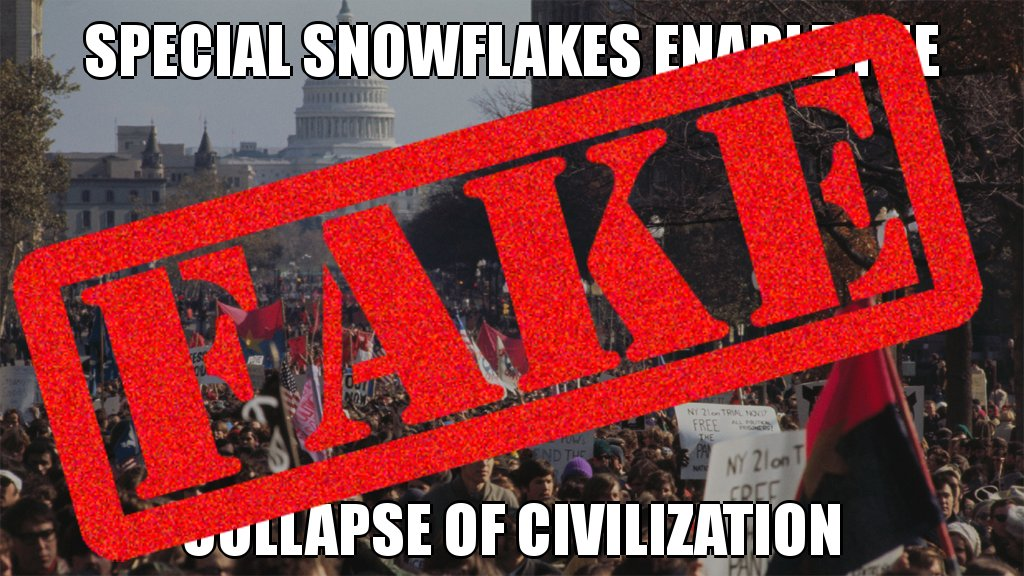 Unfounded! Special snowflakes do NOT enable the collapse of civilization #posttruth #troll #false #botactivity @PolitiFact<br>http://pic.twitter.com/dI1CoQn35L