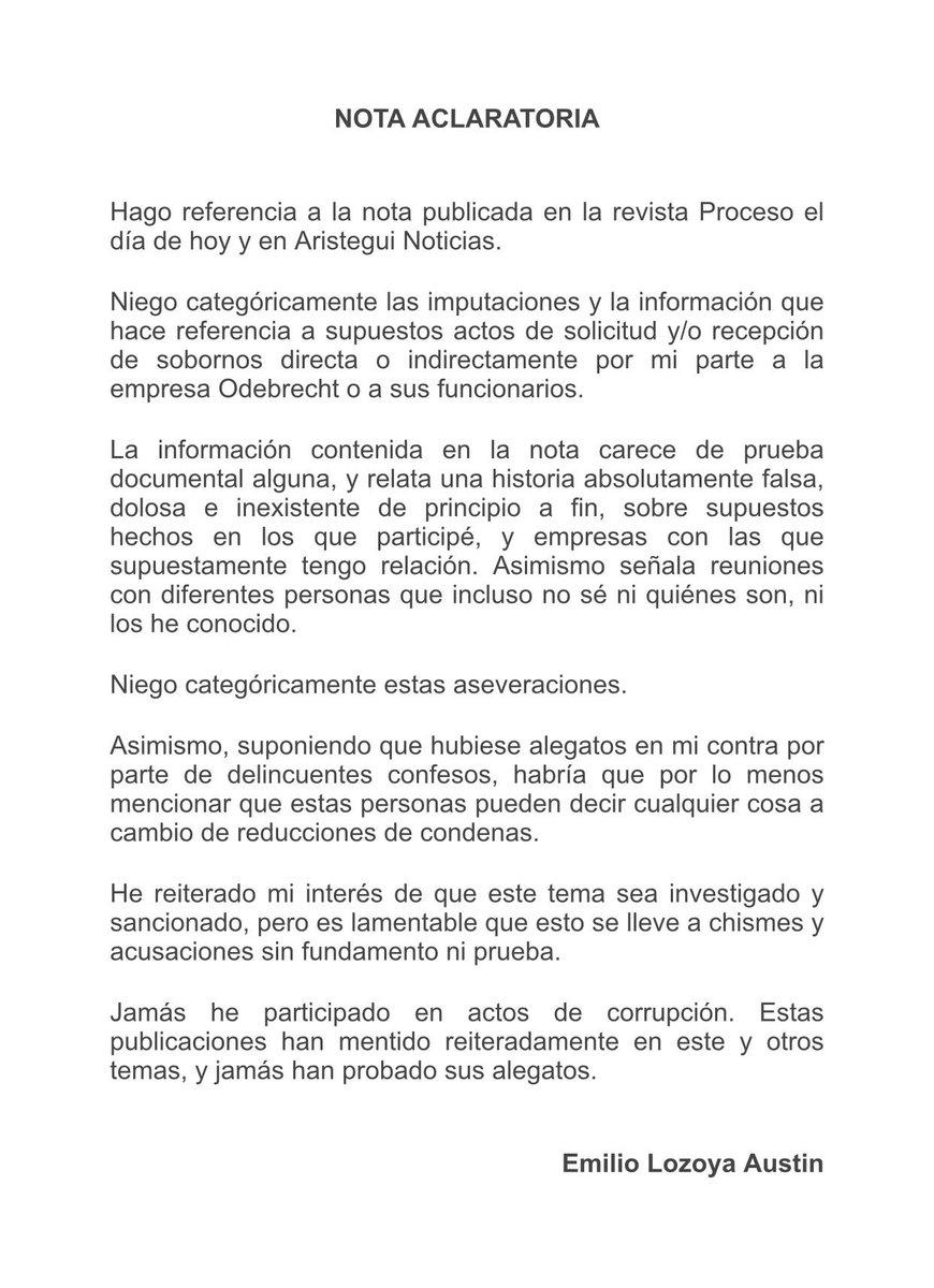 Carta aclaratoria sobre la nota de hoy publicada en Proceso y Aristegui Noticias.