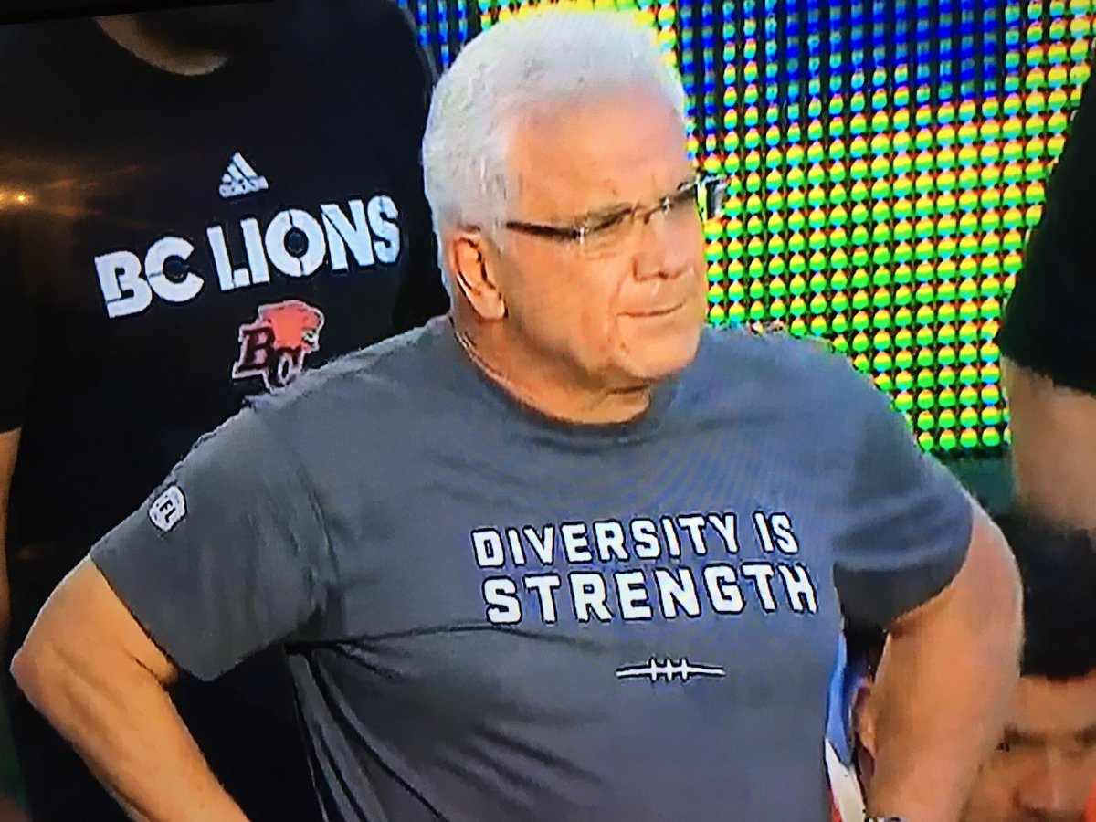 Great call by Wally Buono and everyone else in the @CFL wearing these shirts tonight. #DiversityIsStrength https://t.co/mJuDTUxnJe