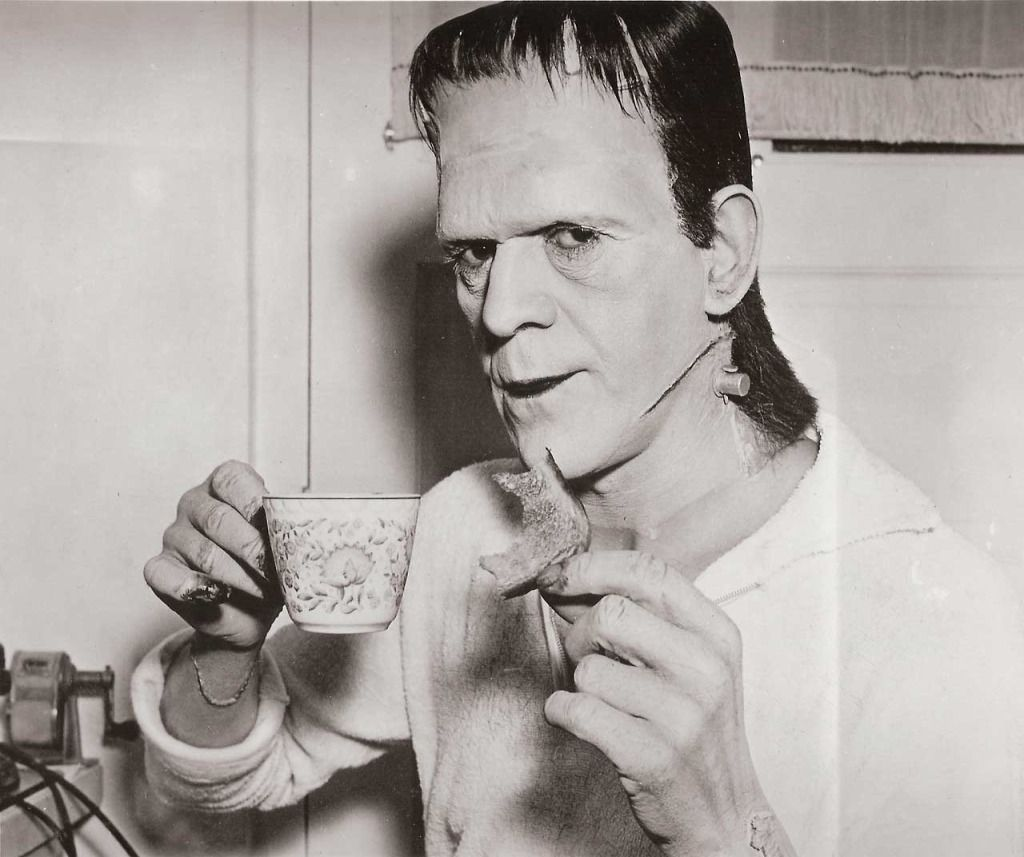 #BorisKarloff on the set of #Son of #Frankenstein (1939) ... A #monster having his first coffee of the day. <br>http://pic.twitter.com/S9EQihc61j