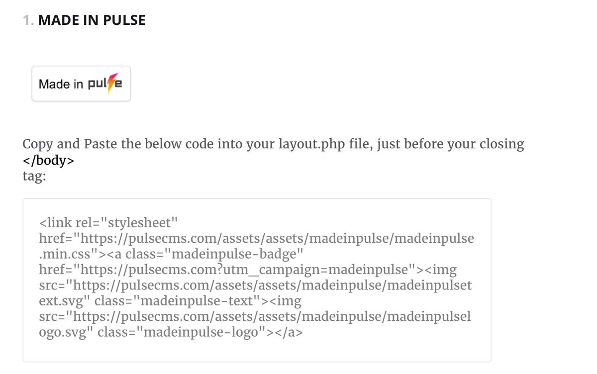 Add A Made In Pulse Badge To Your Sites Go Here Get The Code Layoutphp Page Pulsecms Assets Pictwitter