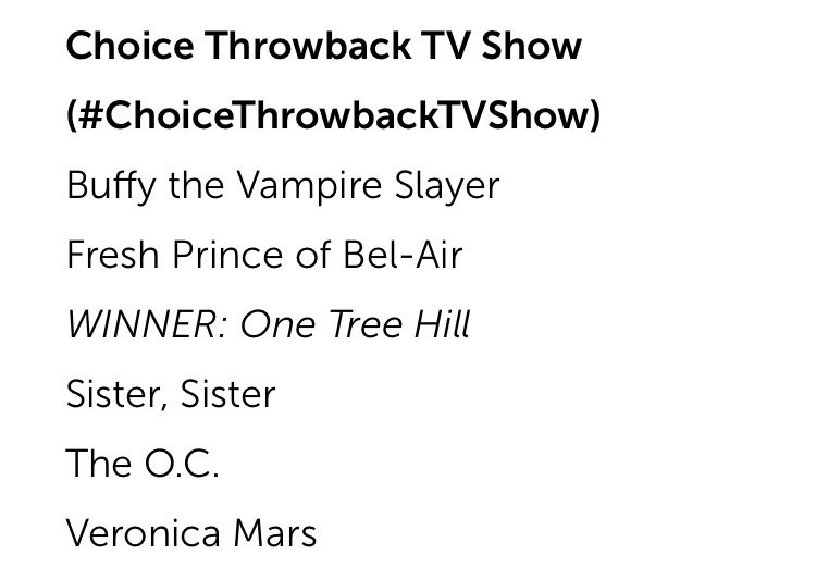 Once again OTH fans prove THEY'RE NOT MESSING AROUND. Congrats to YOU, fans. Truly the best.  #othfamily #TeenChoice https://t.co/hVIVdk9uAi