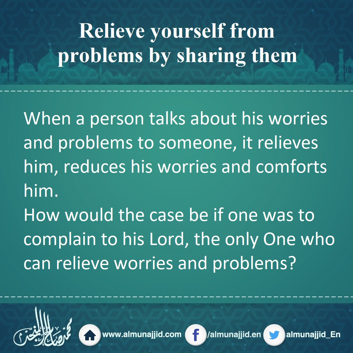 Relieve yourself from problems by sharing them #problem #complain #lord #Allah<br>http://pic.twitter.com/v4pYIhbe3W