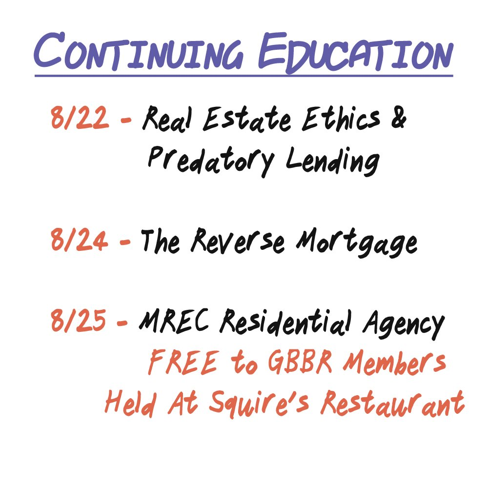 Check out next week&#39;s #CE! Visit  http://www. gbbr.org/ce  &nbsp;    to register or see the full CE schedule. #GBBReducation #Realtors #RealEstate<br>http://pic.twitter.com/kgkPEdzB8S