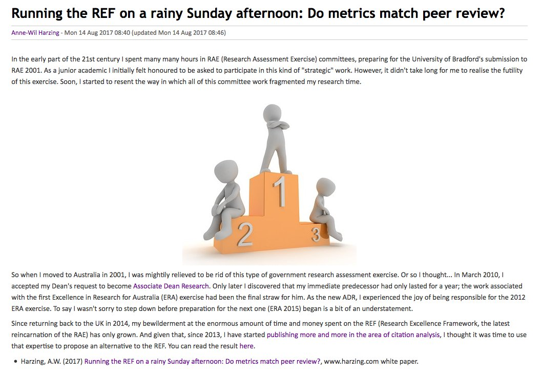Ditch #REF2021 for metrics? Rank with  https:// harzing.com/resources/publ ish-or-perish &nbsp; …  and @MSFTAcademic correlates .97 wth REF:  https:// goo.gl/Y8eyNC  &nbsp;   @LISResearch<br>http://pic.twitter.com/jmLiWp7rMy
