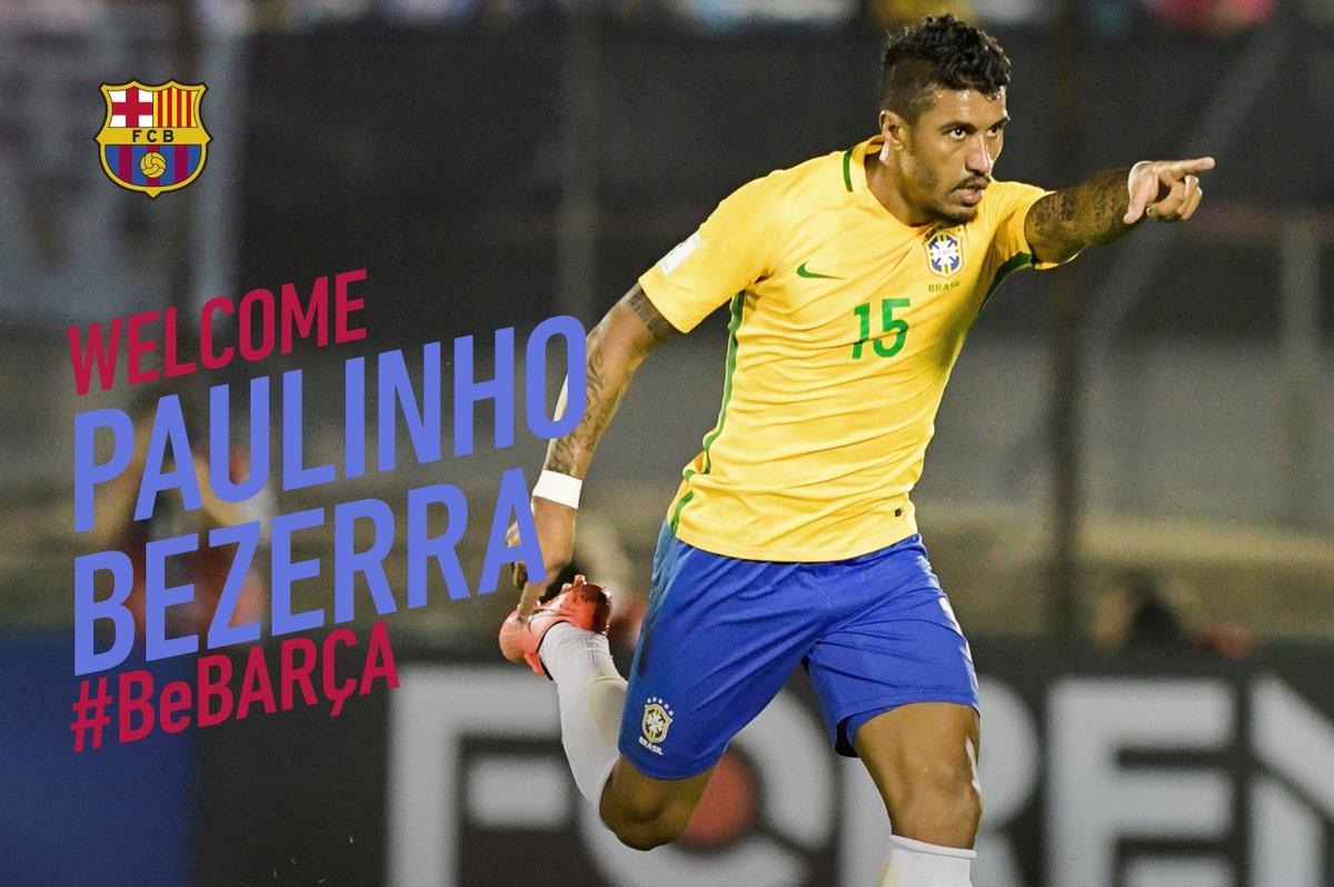 Paulinho Bezerra, FC Barcelona's new signing https://t.co/TGWrKjWkfG  👋🇧🇷 Welcome, Paulinho!  🔵🔴 #BeBarça #ForçaBarça