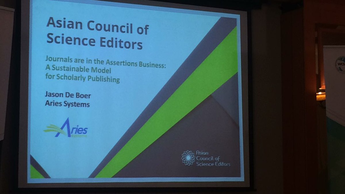 Jason De Boer on &quot;Journals are in the Assertions Business - Sustainable Model for Scholarly Publishing @AriesMarketing  #ACSE2017 <br>http://pic.twitter.com/f4iTocNAlC
