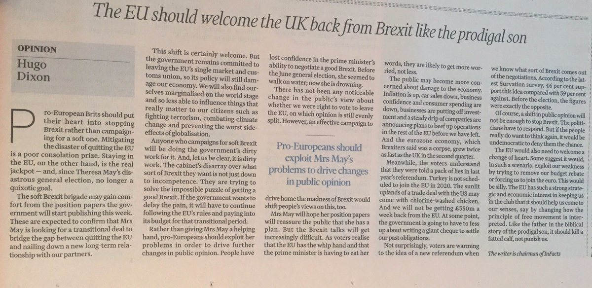 We should fight Brexit not campaign for a soft one. My @FT column now in print https://t.co/SfP1GUVdzZ