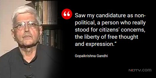 Gopalkrishna Gandhi to NDTV on being opposition's Vice Presidential candidate @LRC_NDTV