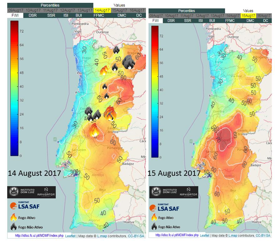 Lothar Schüller On Twitter Wild Fires In Portugal LSA SAF Data - Portugal map weather