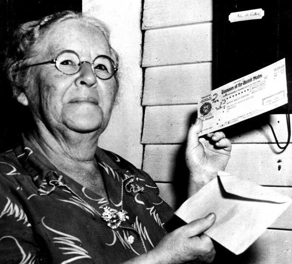 FDR signed Social Security today 1935--Ida Fuller of Vermont was first...