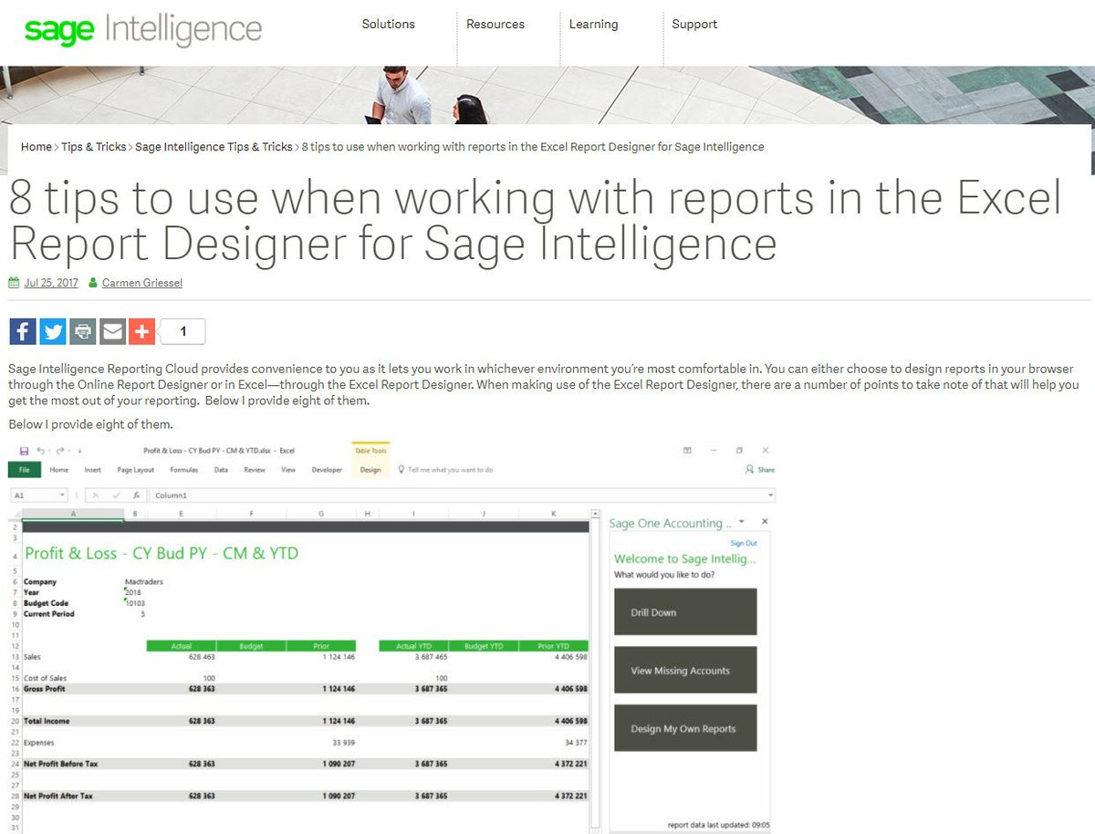 Check my top 8 tips when using #SageIntelligence #cloud in #Excel #ReportDesigner  http:// ow.ly/rwwO30eiIw4  &nbsp;  <br>http://pic.twitter.com/01G9aHeprz