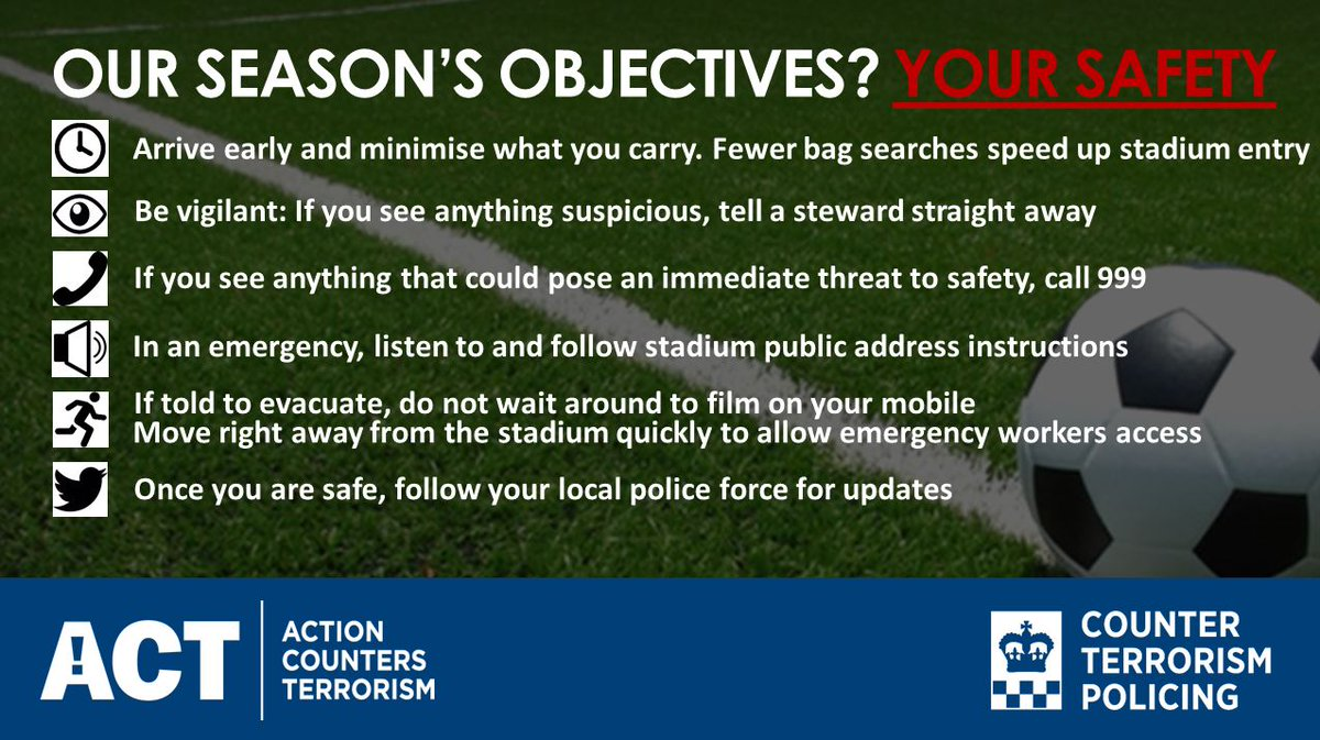 Our objectives this football season? Your Safety. Know the game plan #ActionCountersTerrorism