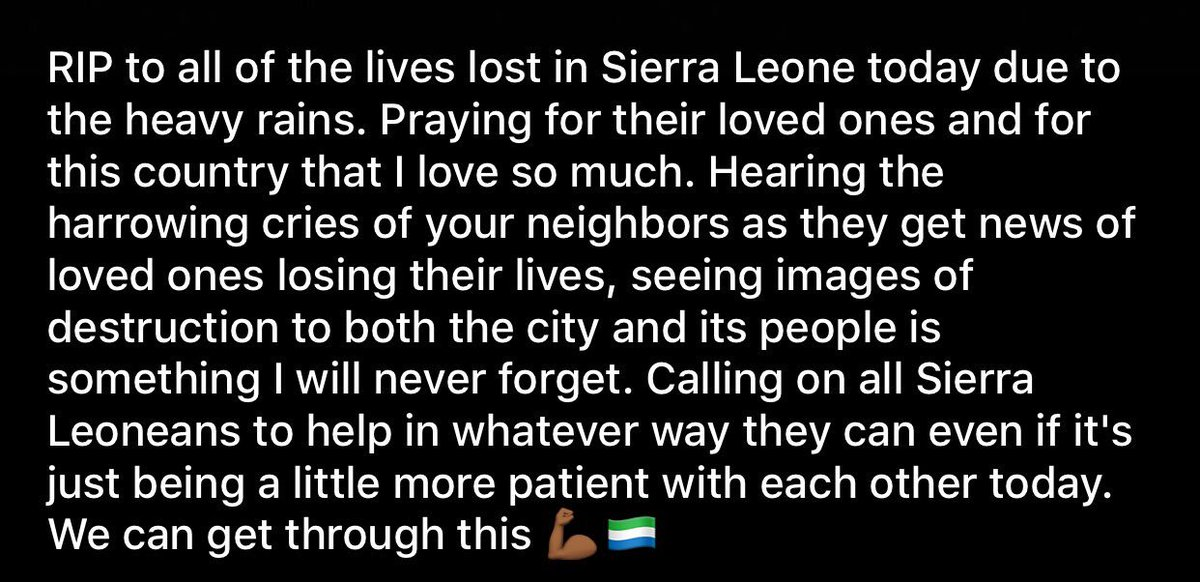 This is a very heartbreaking day for #SierraLeone. We are a resilient people. Let&#39;s mobilize and help those in need. #food #shelter #water <br>http://pic.twitter.com/Ky4R24iJLW