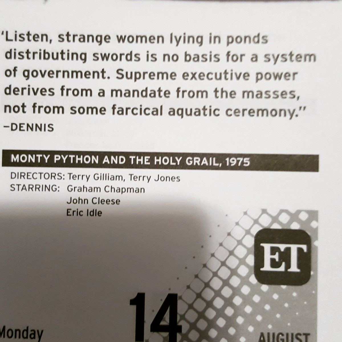 From my calender this morning. #montypython #sageadvice <br>http://pic.twitter.com/GSyBcIeat5