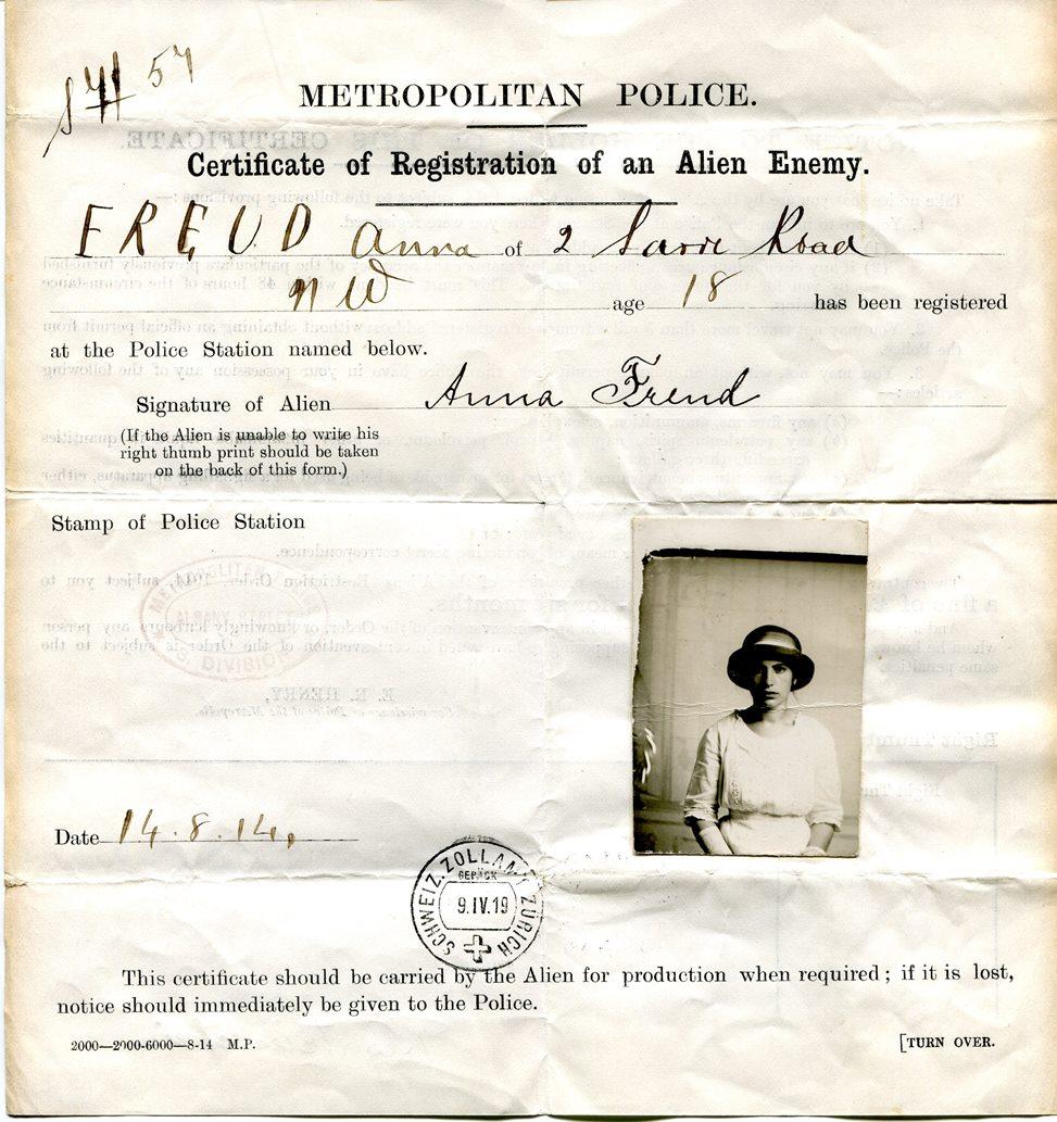 Freud Museum London On Twitter Anna Freuds Certificate Of