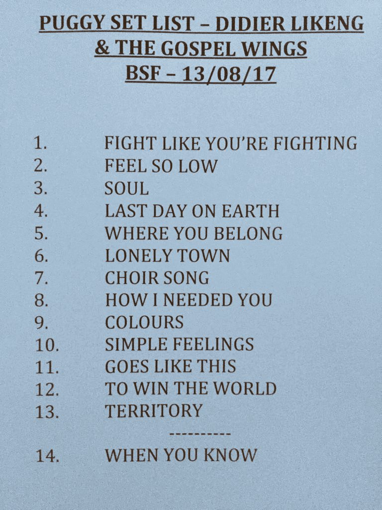 Did you enjoy @PuggyBand yesterday? Here is the setlist of this incredible performance ! #BSF17 #setlist #BSF #brussels #PlaceDesPalais<br>http://pic.twitter.com/9kS7O6lA5x
