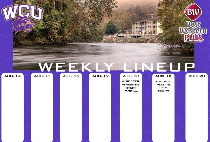 WCU Athletics Weekly Lineup