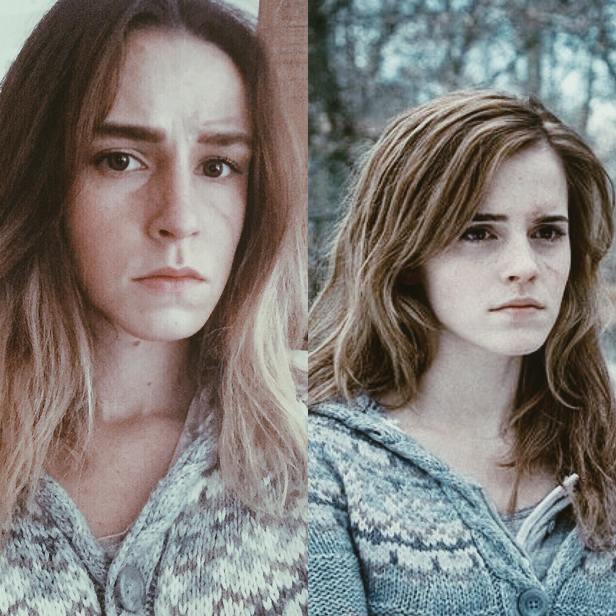 My cosplay make up side by side of Hermione #cosplayer #DeathlyHallows @jk_rowling @EmmaWatson<br>http://pic.twitter.com/EFmYBdMn59