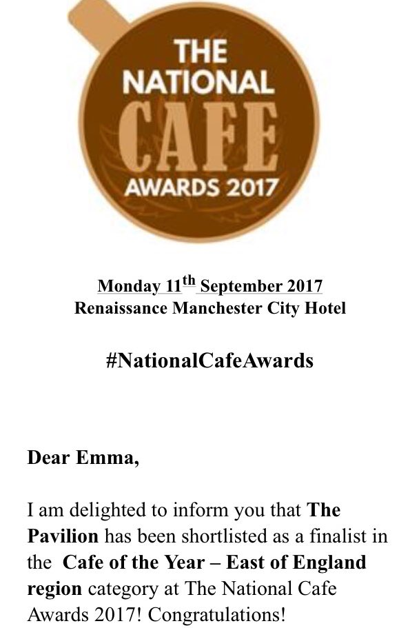 #thankyou to whoever nominated us @bedfordpavilion #NationalCafeAwards #finalist @RenHotels<br>http://pic.twitter.com/8fgGNF9cQk