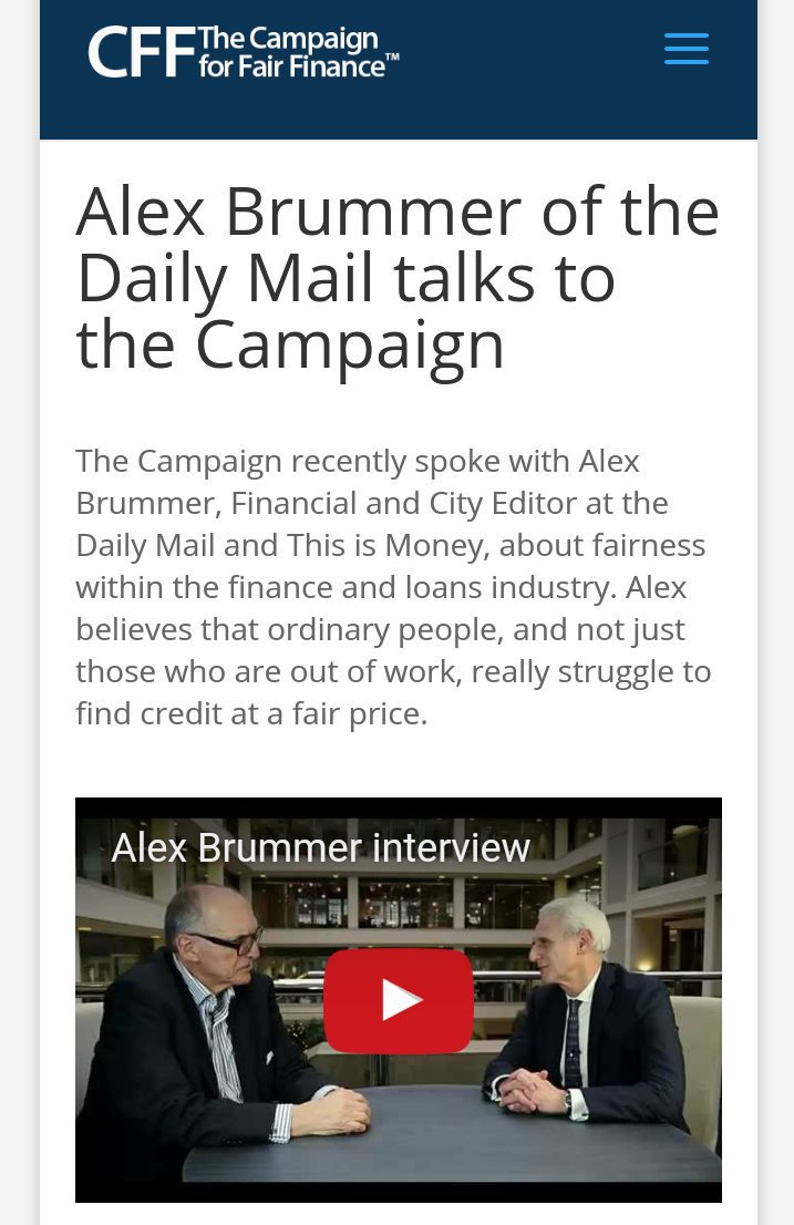 Alex Brummer believes that ordinary people really struggle to find #credit at a fair price. Watch my interview here:  http://www. campaignforfairfinance.org/brummer/  &nbsp;  <br>http://pic.twitter.com/643B9Ovwne